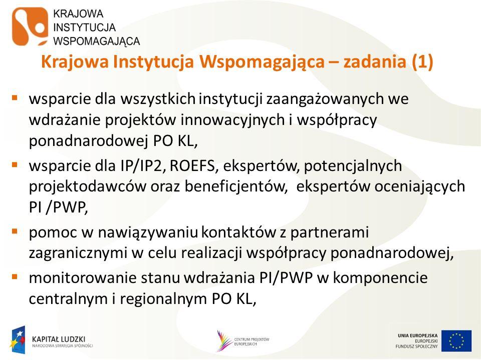 Krajowa Instytucja Wspomagająca – zadania (2) koordynacja 4 Krajowych Sieci Tematycznych w obszarach Zatrudnienia i integracji społecznej, Dobrego rządzenia, Adaptacyjności oraz Edukacji i szkolnictwa wyższego, prowadzenie Sekretariatu Ogólnego RST, monitorującego i wspomagającego prace Regionalnych Sieci Tematycznych, opracowywanie materiałów oraz podręczników dotyczących PI/PWP, prowadzenie serwisu internetowego KIW www.kiw- pokl.org.pl.www.kiw- pokl.org.pl