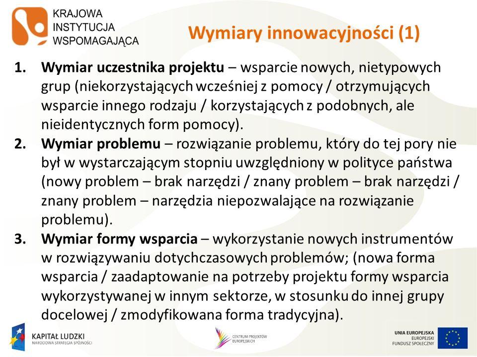 Wymiary innowacyjności (2) Im bardziej oryginalny wymiar – w odniesieniu do działań dotychczas realizowanych w Polsce – tym lepiej.