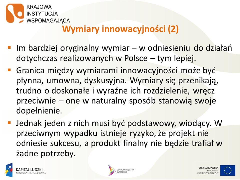 Wymiary innowacyjności (2) Im bardziej oryginalny wymiar – w odniesieniu do działań dotychczas realizowanych w Polsce – tym lepiej. Granica między wym