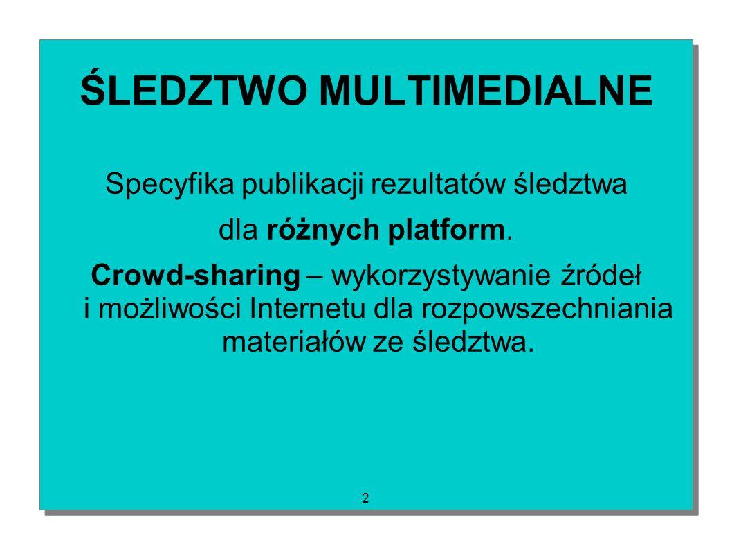 2 ŚLEDZTWO MULTIMEDIALNE Specyfika publikacji rezultatów śledztwa dla różnych platform. Crowd-sharing – wykorzystywanie źródeł i możliwości Internetu