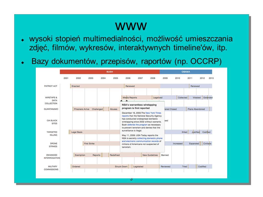3 www wysoki stopień multimedialności, możliwość umieszczania zdjęć, filmów, wykresów, interaktywnych timeline'ów, itp. Bazy dokumentów, przepisów, ra