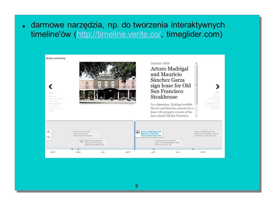 6 darmowe narzędzia, np. do tworzenia interaktywnych timeline'ów (http://timeline.verite.co/, timeglider.com)http://timeline.verite.co/