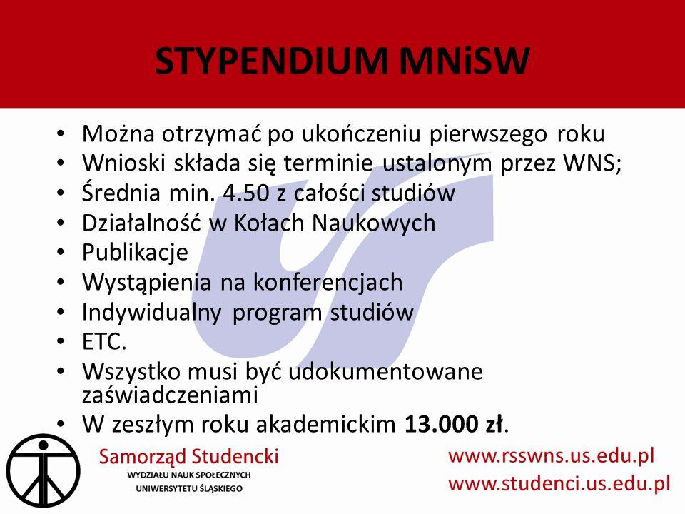 Można otrzymać po ukończeniu pierwszego roku Wnioski składa się terminie ustalonym przez WNS; Średnia min. 4.50 z całości studiów Działalność w Kołach