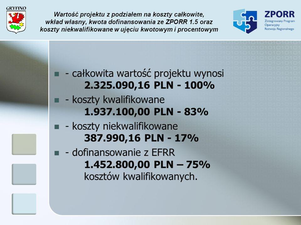 Wartość projektu z podziałem na koszty całkowite, wkład własny, kwota dofinansowania ze ZPORR 1.5 oraz koszty niekwalifikowane w ujęciu kwotowym i pro