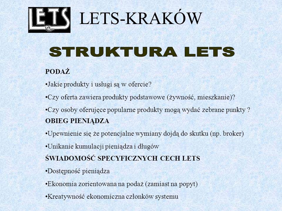 LETS-KRAKÓW Jest kilka aspektów, które bierzemy pod uwagę w dalszym rozwoju naszego systemu.
