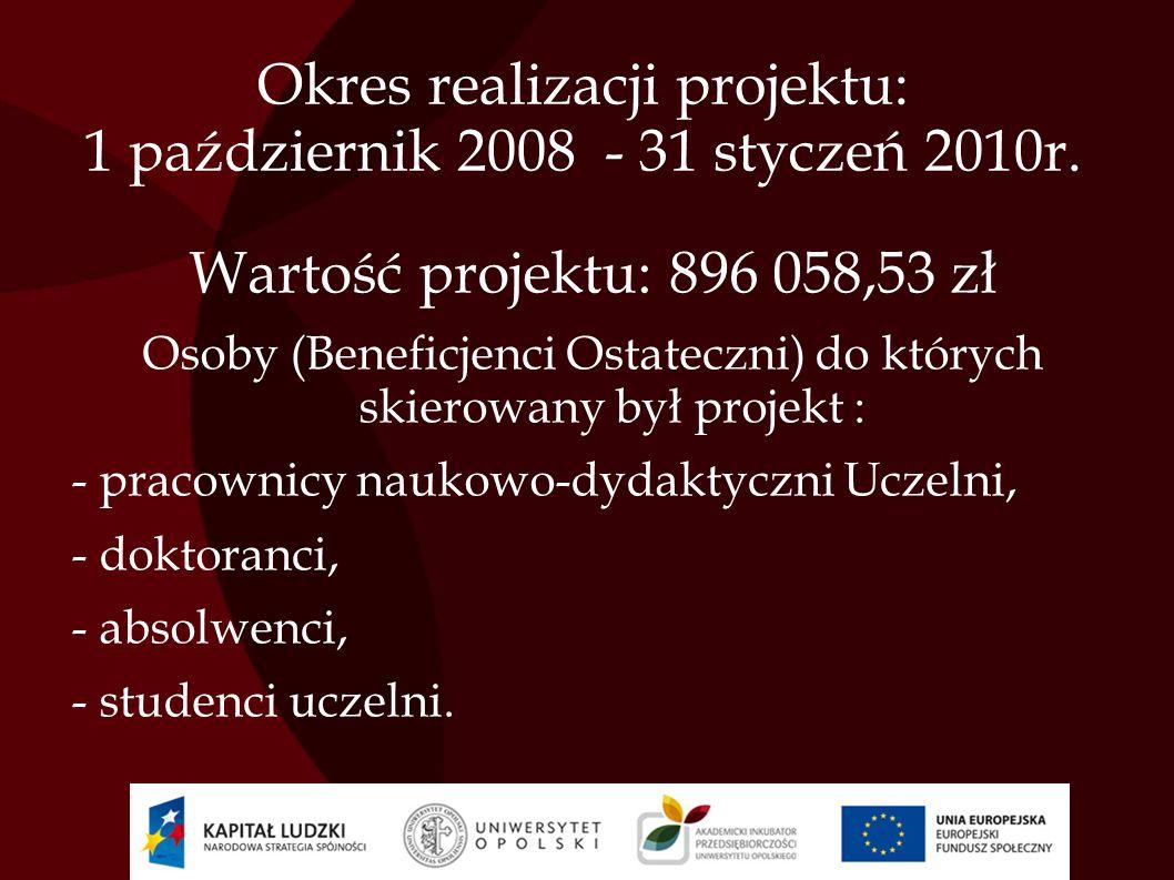 Okres realizacji projektu: 1 październik 2008 - 31 styczeń 2010r. Wartość projektu: 896 058,53 zł Osoby (Beneficjenci Ostateczni) do których skierowan