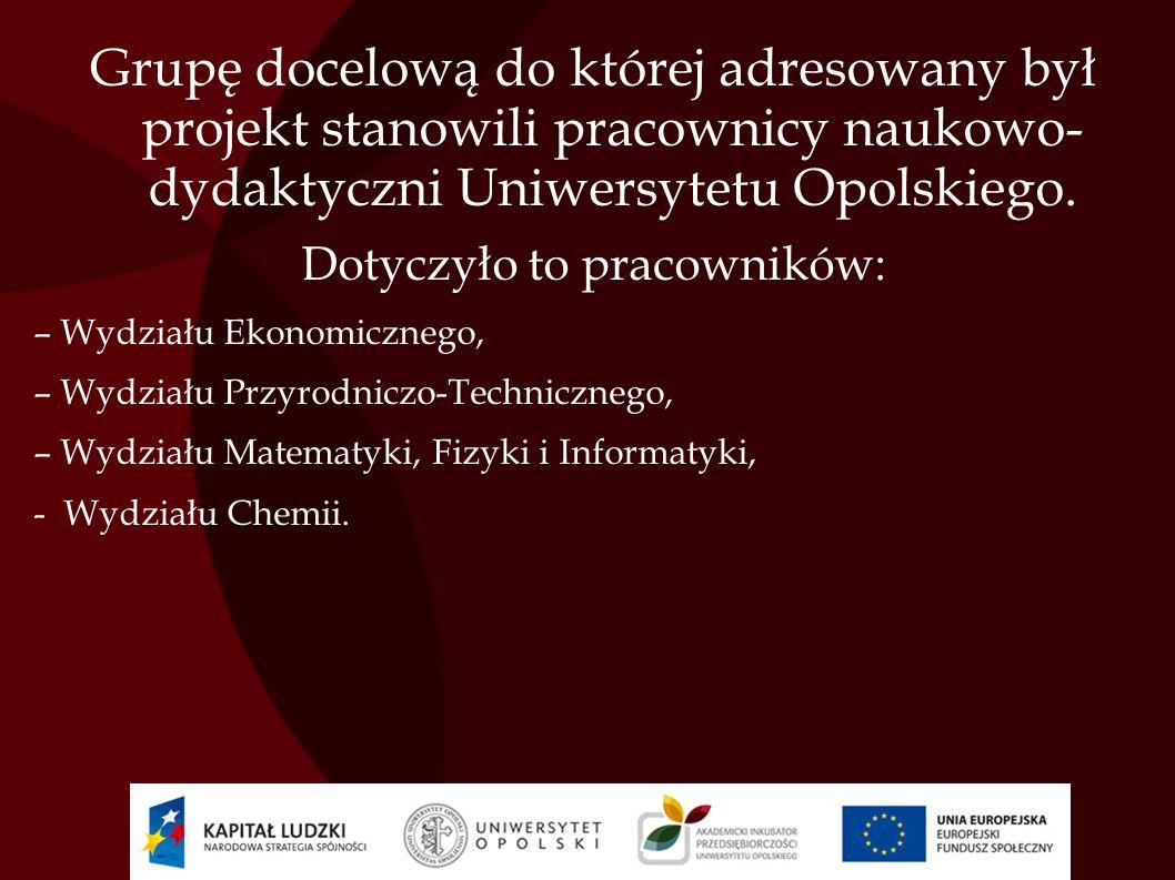Grupę docelową do której adresowany był projekt stanowili pracownicy naukowo- dydaktyczni Uniwersytetu Opolskiego. Dotyczyło to pracowników: – Wydział