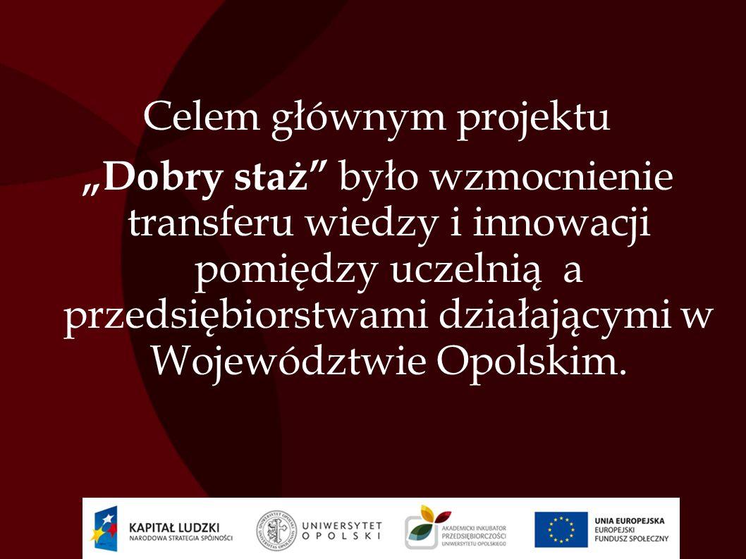 Cel główny został osiągnięty poprzez cele szczegółowe projektu : 1)nawiązanie lub wzmocnienie stałej współpracy między Uniwersytetem Opolskim a przedsiębiorstwami, 2)uzyskanie przez uczelnię informacji nt.