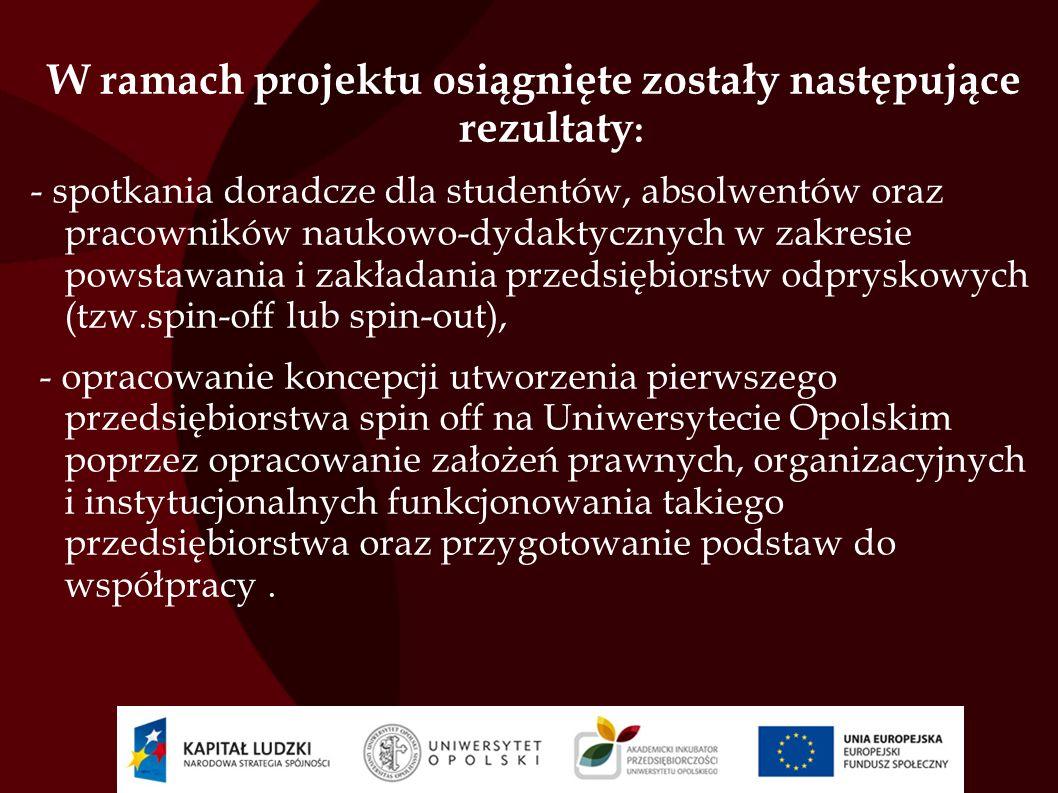 Przedsiębiorstwa w których pracownicy naukowo- dydaktyczni Uczelni uczestniczyli w stażach: EKONCEPT Marcin Rybotycki w Kędzierzynie-Koźlu Zakład Usług Położniczo-Pielęgniarskich Zdrowa Rodzina S.C w Opolu Wodociągi i Kanalizacja Sp.