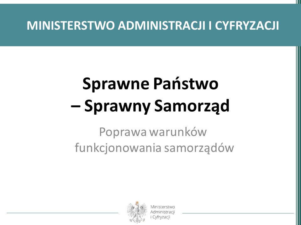 Sprawne Państwo – Sprawny Samorząd Poprawa warunków funkcjonowania samorządów MINISTERSTWO ADMINISTRACJI I CYFRYZACJI