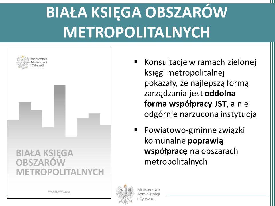 BIAŁA KSIĘGA OBSZARÓW METROPOLITALNYCH Konsultacje w ramach zielonej księgi metropolitalnej pokazały, że najlepszą formą zarządzania jest oddolna form