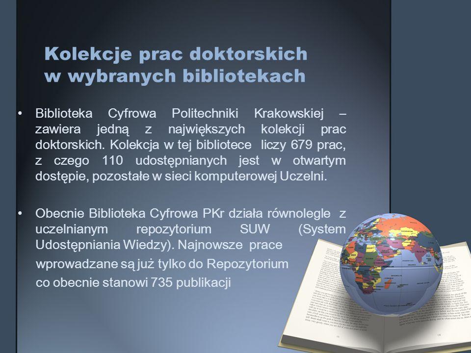 Kolekcje prac doktorskich w wybranych bibliotekach Biblioteka Cyfrowa Politechniki Krakowskiej – zawiera jedną z największych kolekcji prac doktorskic