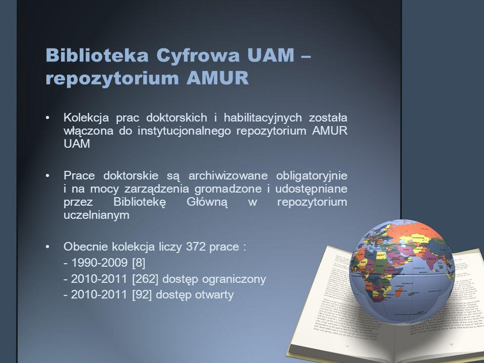 Biblioteka Cyfrowa UAM – repozytorium AMUR Kolekcja prac doktorskich i habilitacyjnych została włączona do instytucjonalnego repozytorium AMUR UAM Pra