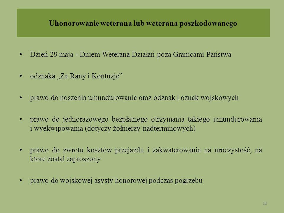 Uhonorowanie weterana lub weterana poszkodowanego Dzień 29 maja - Dniem Weterana Działań poza Granicami Państwa odznaka Za Rany i Kontuzje prawo do no