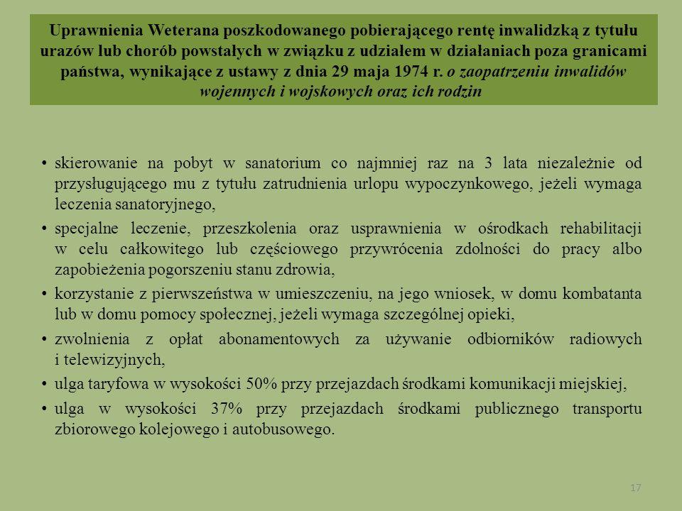 Uprawnienia Weterana poszkodowanego pobierającego rentę inwalidzką z tytułu urazów lub chorób powstałych w związku z udziałem w działaniach poza grani