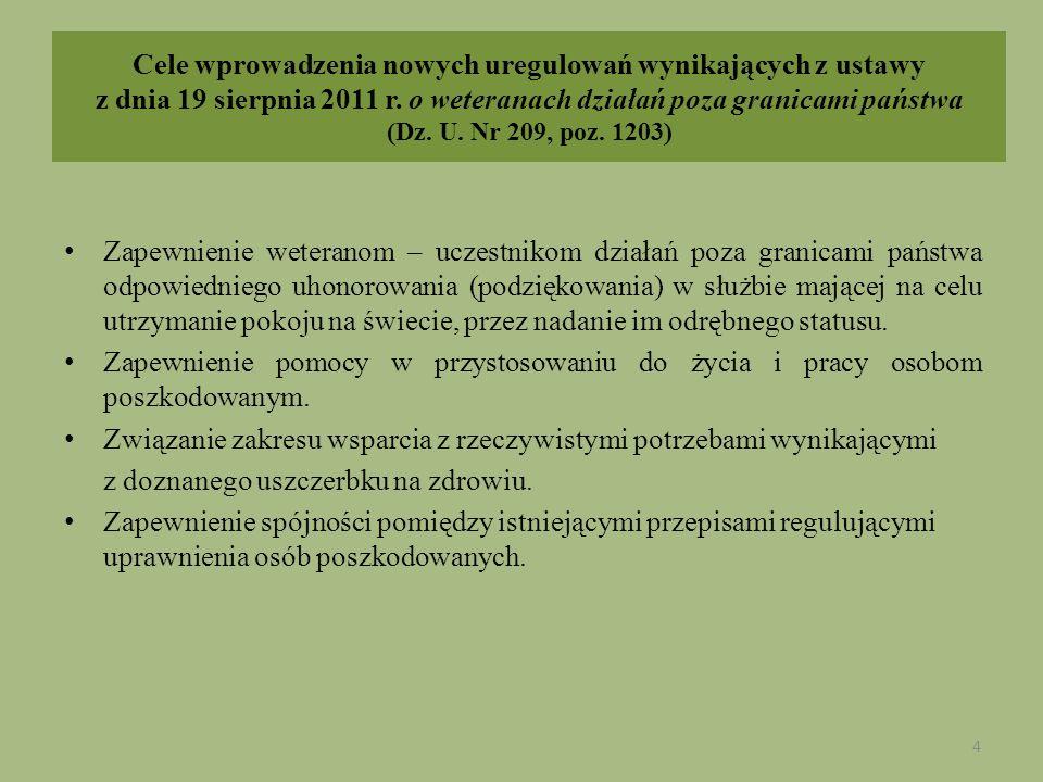 Cele wprowadzenia nowych uregulowań wynikających z ustawy z dnia 19 sierpnia 2011 r. o weteranach działań poza granicami państwa (Dz. U. Nr 209, poz.