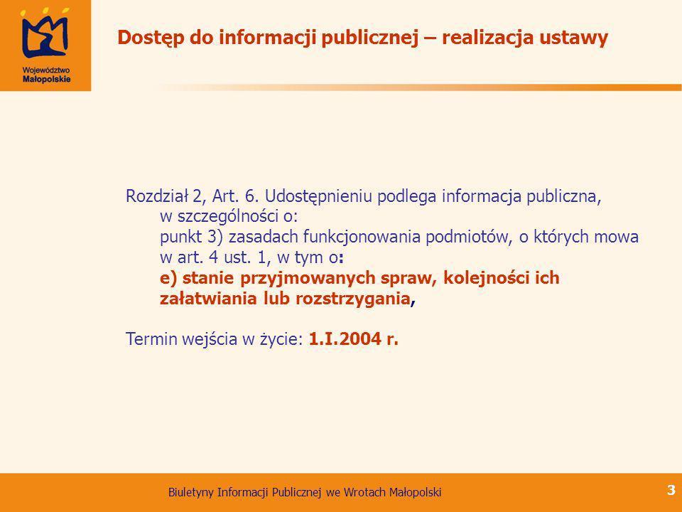 Biuletyny Informacji Publicznej we Wrotach Małopolski 3 Dostęp do informacji publicznej – realizacja ustawy Rozdział 2, Art. 6. Udostępnieniu podlega