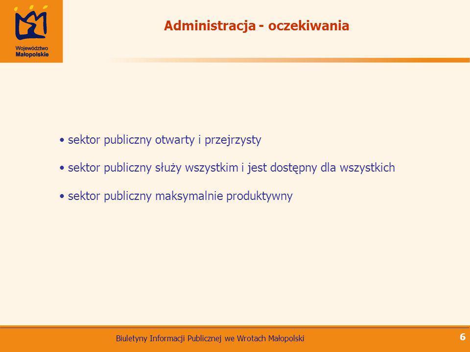 Biuletyny Informacji Publicznej we Wrotach Małopolski 6 sektor publiczny otwarty i przejrzysty sektor publiczny służy wszystkim i jest dostępny dla ws