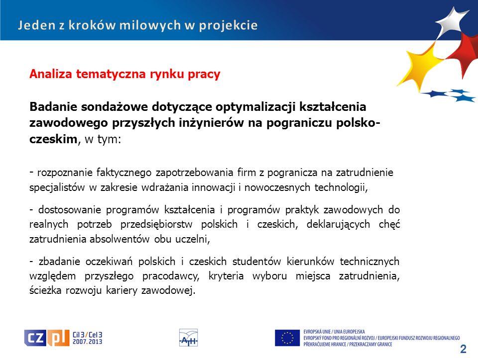 43 Profil respondentów: – polska część pogranicza: 30 firm, w tym: 4 - mikro, 9 – małych, 8 – średnich i 9 – dużych przedsiębiorstw; – czeska część pogranicza: 30 firm, w tym: 2 - mikro, 3 – małych, 13 – średnich i 12 – dużych przedsiębiorstw.