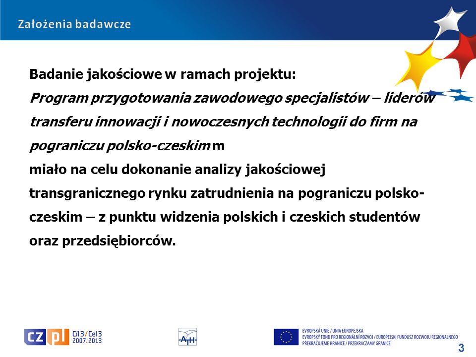 3 Badanie jakościowe w ramach projektu: Program przygotowania zawodowego specjalistów – liderów transferu innowacji i nowoczesnych technologii do firm