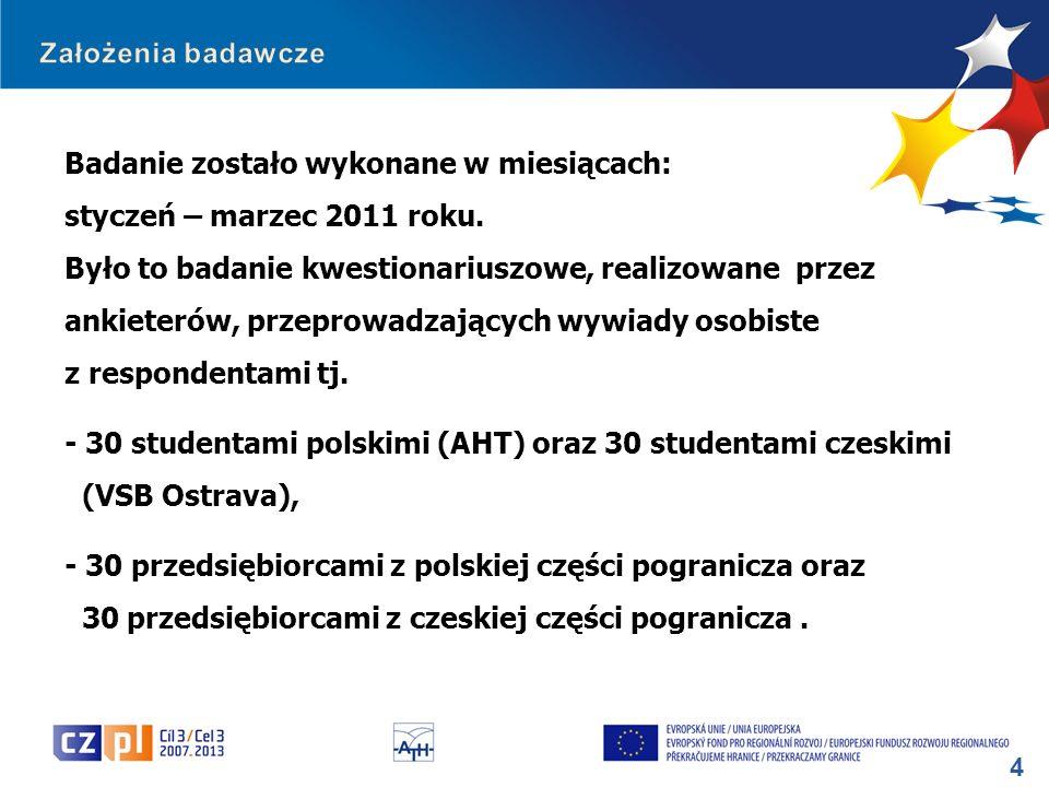 5 Raporty obejmujące analizę statystyczną zebranego materiału badawczego opracowały: - po stronie Partnera Wiodącego – dr Aneta Bąk - po stronie Partnera Czeskiego – PhDr.