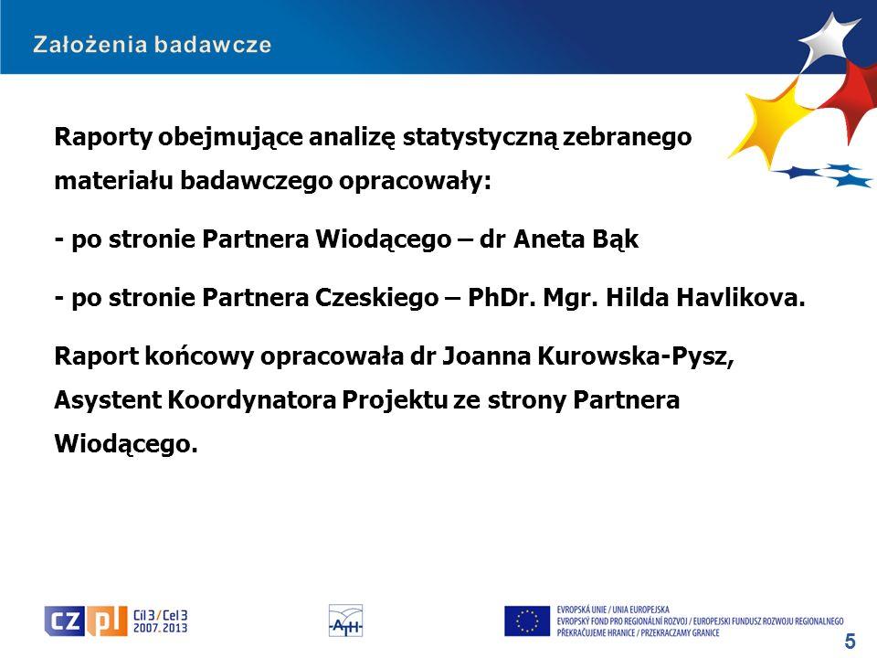 5 Raporty obejmujące analizę statystyczną zebranego materiału badawczego opracowały: - po stronie Partnera Wiodącego – dr Aneta Bąk - po stronie Partn