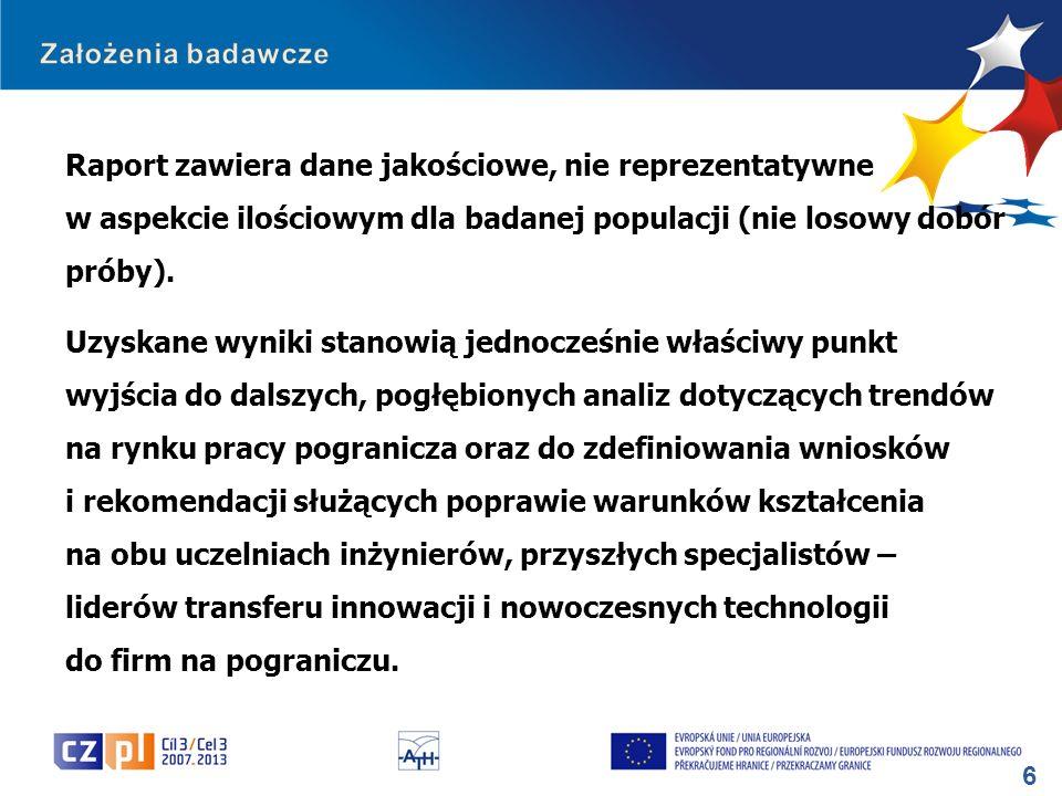 7 Opracowanie będzie pomocne Partnerom projektu w uzyskaniu odpowiedzi na następujące pytania badawcze: 1.W jakim kierunku kształcić studentów, zgodnie z zapotrzebowaniem przedsiębiorców z pogranicza polsko-czeskiego.