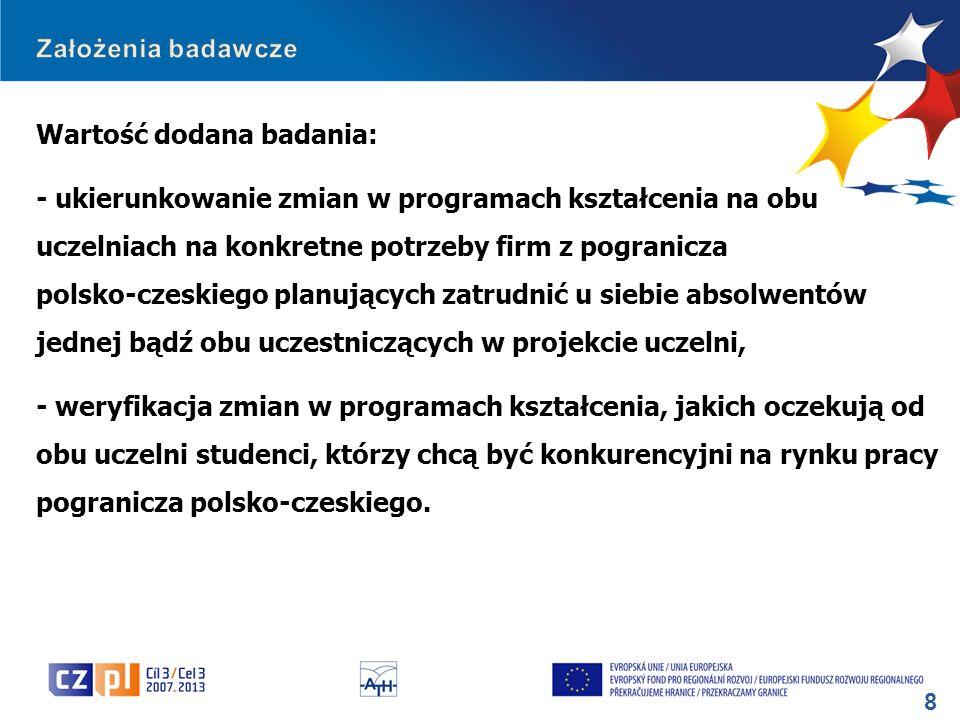 8 Wartość dodana badania: - ukierunkowanie zmian w programach kształcenia na obu uczelniach na konkretne potrzeby firm z pogranicza polsko-czeskiego p