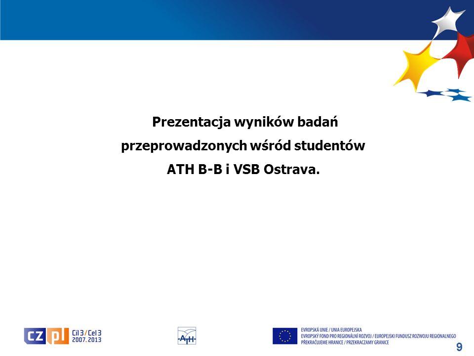 9 Prezentacja wyników badań przeprowadzonych wśród studentów ATH B-B i VSB Ostrava.