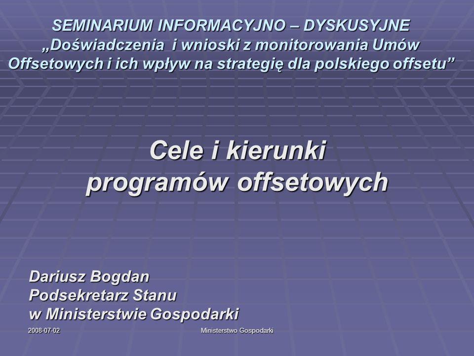 2008-07-02Ministerstwo Gospodarki Cele realizacji programów offsetowych Ustawa offsetowa wskazuje 6 głównych celów realizacji offsetu: 1) Rozwój polskiego przemysłu ze szczególnym uwzględnieniem przemysłu obronnego.