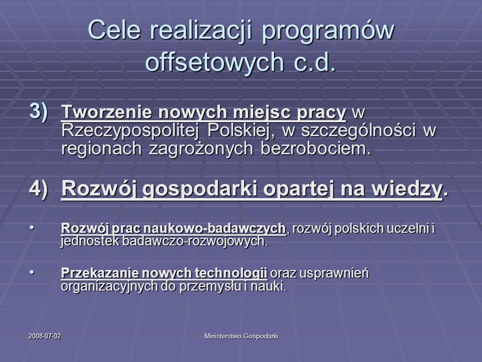 2008-07-02Ministerstwo Gospodarki Cele realizacji programów offsetowych c.d. 3) Tworzenie nowych miejsc pracy w Rzeczypospolitej Polskiej, w szczególn