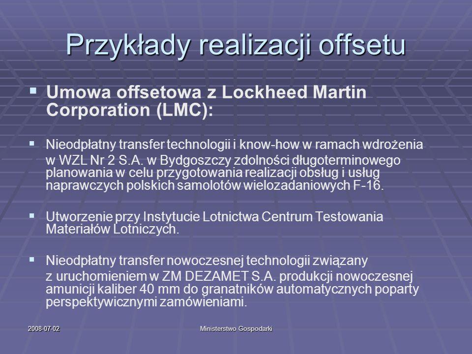 2008-07-02Ministerstwo Gospodarki Przykłady realizacji offsetu Umowa offsetowa z Lockheed Martin Corporation (LMC): Nieodpłatny transfer technologii i