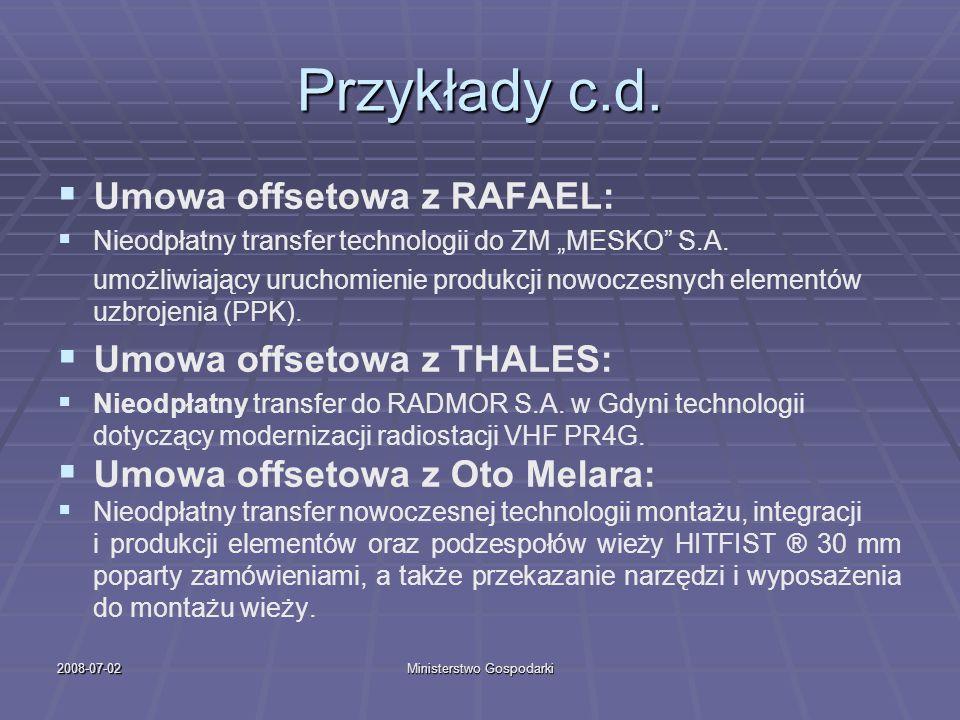 2008-07-02Ministerstwo Gospodarki Przykłady c.d. Umowa offsetowa z RAFAEL: Nieodpłatny transfer technologii do ZM MESKO S.A. umożliwiający uruchomieni