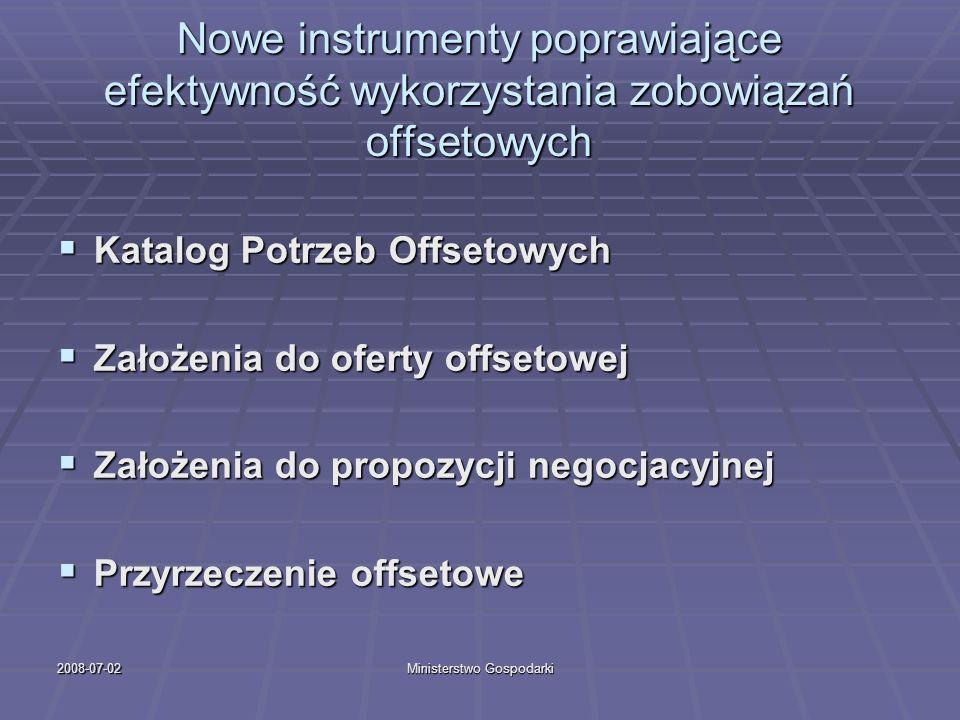 2008-07-02Ministerstwo Gospodarki Nowe instrumenty poprawiające efektywność wykorzystania zobowiązań offsetowych Katalog Potrzeb Offsetowych Katalog P
