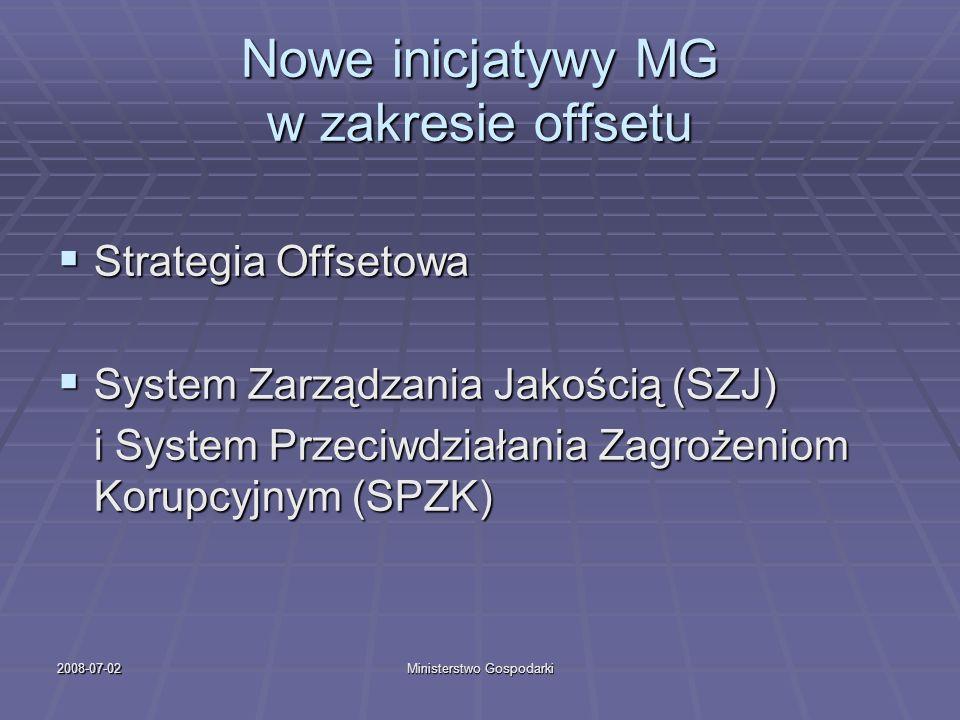 2008-07-02Ministerstwo Gospodarki Nowe inicjatywy MG w zakresie offsetu Strategia Offsetowa Strategia Offsetowa System Zarządzania Jakością (SZJ) Syst