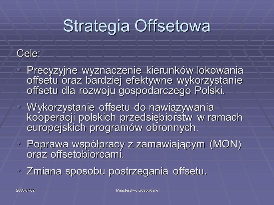 2008-07-02Ministerstwo Gospodarki Strategia Offsetowa Cele: Precyzyjne wyznaczenie kierunków lokowania offsetu oraz bardziej efektywne wykorzystanie o