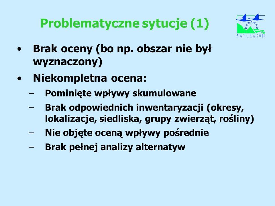 Problematyczne sytucje (1) Brak oceny (bo np. obszar nie był wyznaczony) Niekompletna ocena: –Pominięte wpływy skumulowane –Brak odpowiednich inwentar