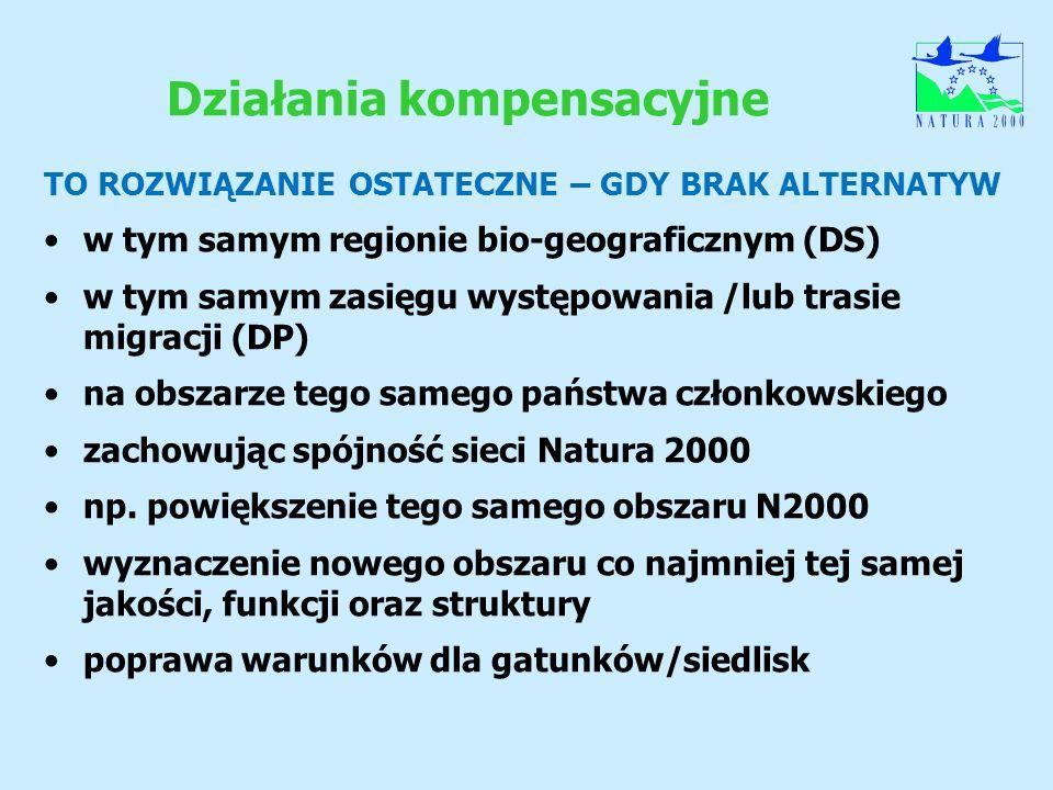 Działania kompensacyjne TO ROZWIĄZANIE OSTATECZNE – GDY BRAK ALTERNATYW w tym samym regionie bio-geograficznym (DS) w tym samym zasięgu występowania /
