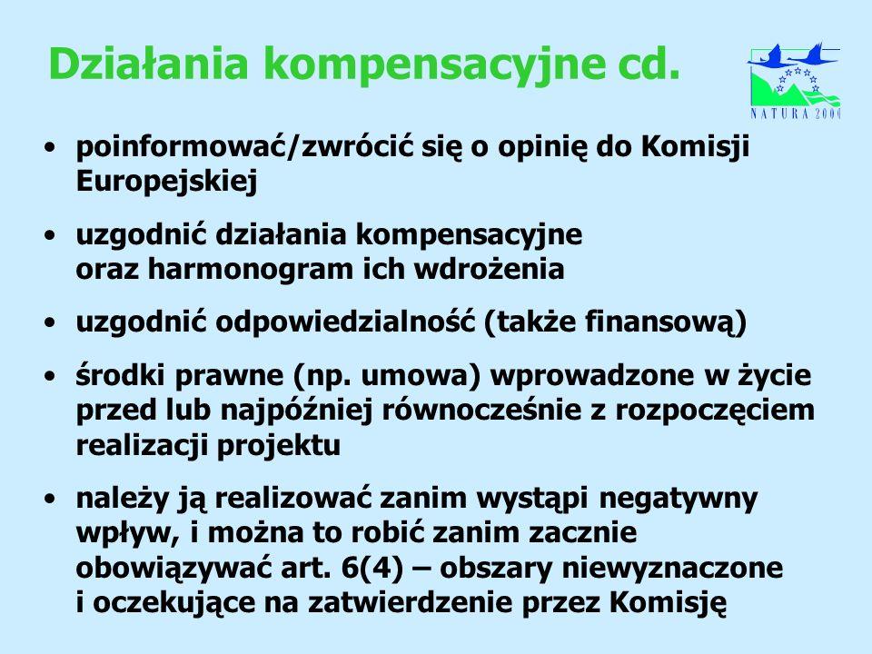 Działania kompensacyjne cd. poinformować/zwrócić się o opinię do Komisji Europejskiej uzgodnić działania kompensacyjne oraz harmonogram ich wdrożenia