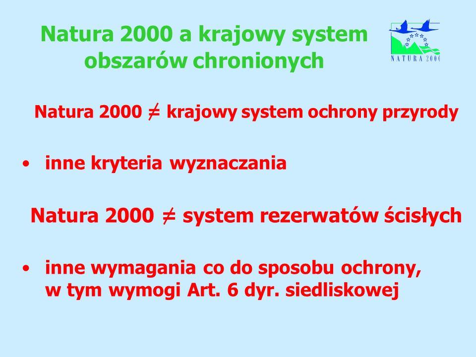 Natura 2000 a krajowy system obszarów chronionych Natura 2000 = krajowy system ochrony przyrody inne kryteria wyznaczania Natura 2000 = system rezerwa