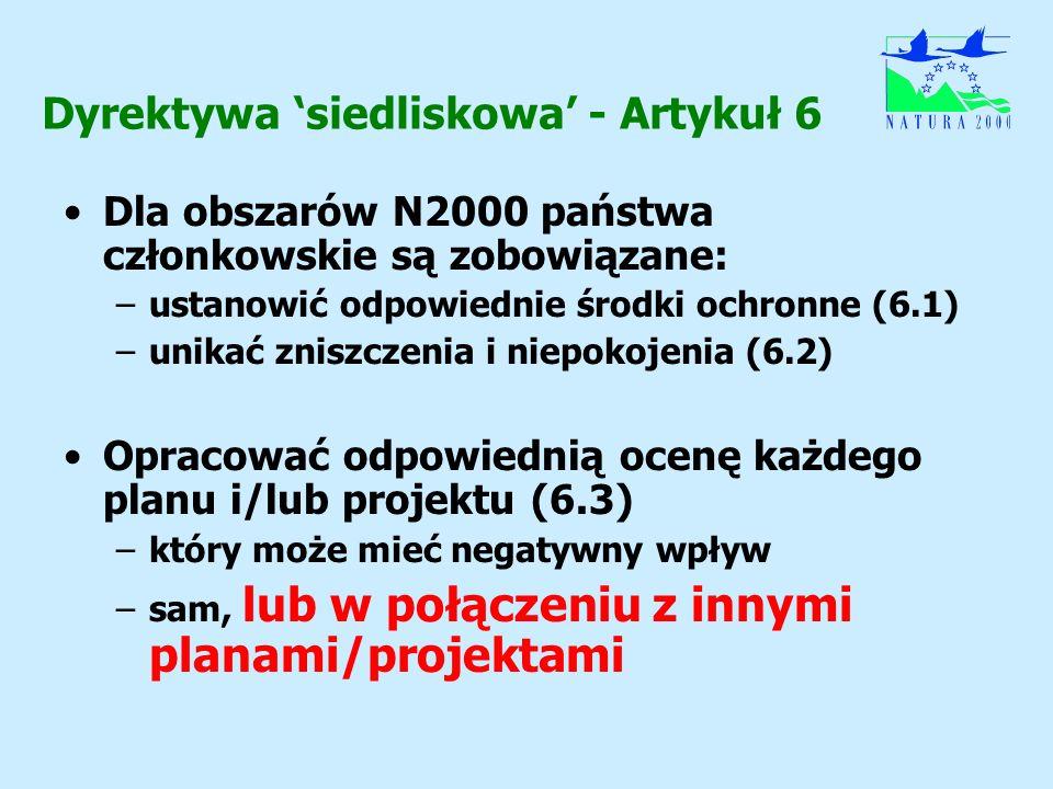 Dyrektywa siedliskowa - Artykuł 6 Dla obszarów N2000 państwa członkowskie są zobowiązane: –ustanowić odpowiednie środki ochronne (6.1) –unikać zniszcz
