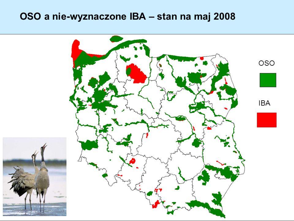 OSO a nie-wyznaczone IBA – stan na maj 2008 OSO IBA
