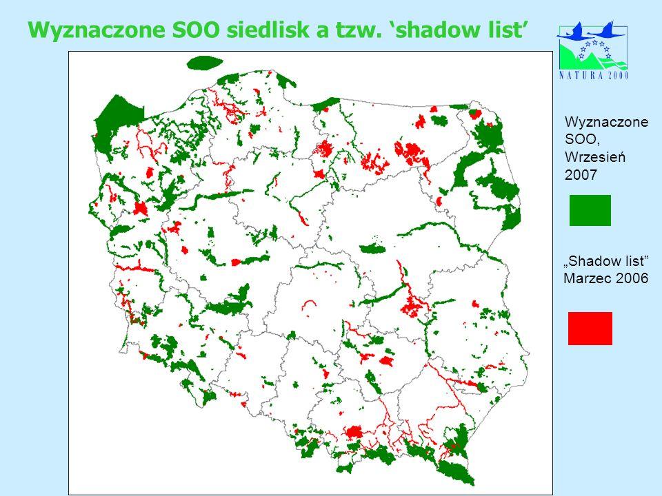 Wyznaczone SOO siedlisk a tzw. shadow list Wyznaczone SOO, Wrzesień 2007 Shadow list Marzec 2006