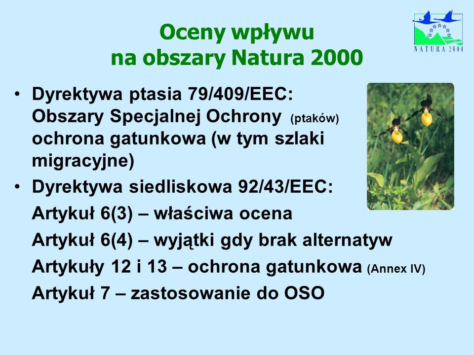 Oceny wpływu na obszary Natura 2000 Dyrektywa ptasia 79/409/EEC: Obszary Specjalnej Ochrony (ptaków) ochrona gatunkowa (w tym szlaki migracyjne) Dyrek