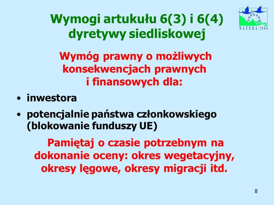 8 Wymogi artukułu 6(3) i 6(4) dyretywy siedliskowej Wymóg prawny o możliwych konsekwencjach prawnych i finansowych dla: inwestora potencjalnie państwa