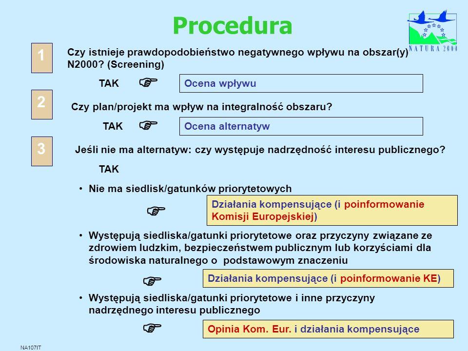 Procedura NA107IT Czy istnieje prawdopodobieństwo negatywnego wpływu na obszar(y) N2000? (Screening) TAK Ocena wpływu 1 Czy plan/projekt ma wpływ na i