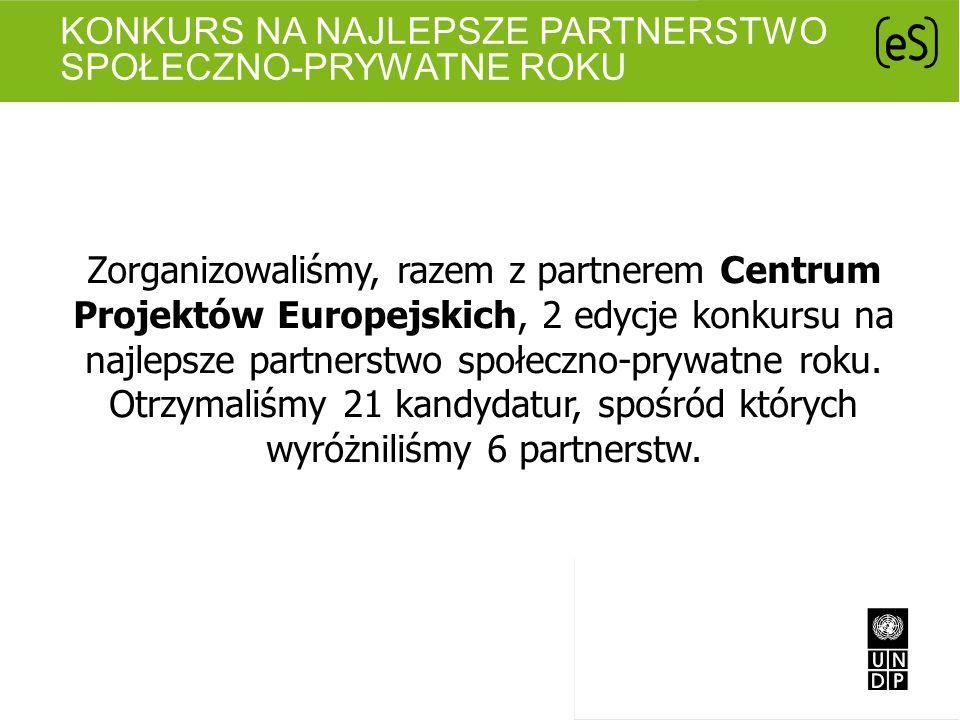 KONKURS NA NAJLEPSZE PARTNERSTWO SPOŁECZNO-PRYWATNE ROKU Zorganizowaliśmy, razem z partnerem Centrum Projektów Europejskich, 2 edycje konkursu na najl