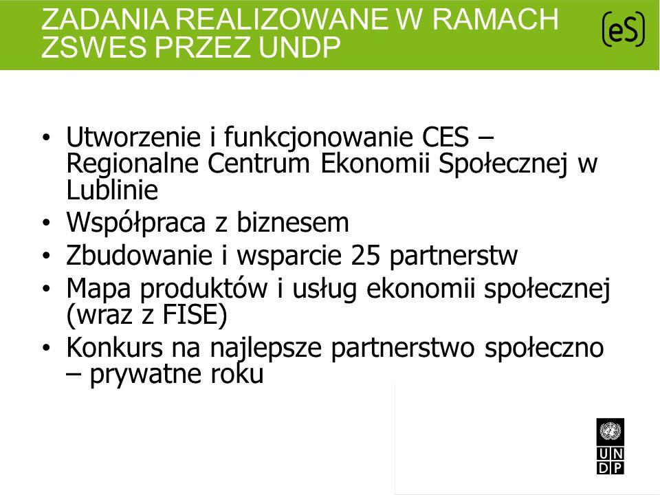 ZADANIA REALIZOWANE W RAMACH ZSWES PRZEZ UNDP Utworzenie i funkcjonowanie CES – Regionalne Centrum Ekonomii Społecznej w Lublinie Współpraca z biznese
