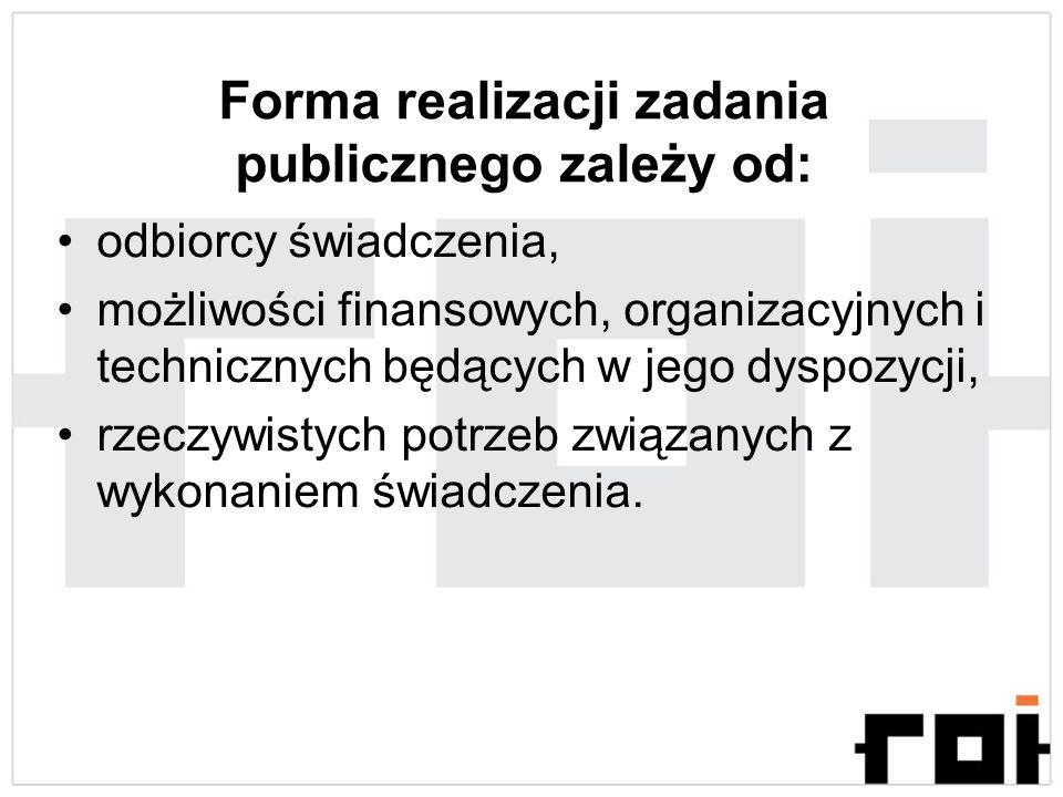 Forma realizacji zadania publicznego zależy od: odbiorcy świadczenia, możliwości finansowych, organizacyjnych i technicznych będących w jego dyspozycj