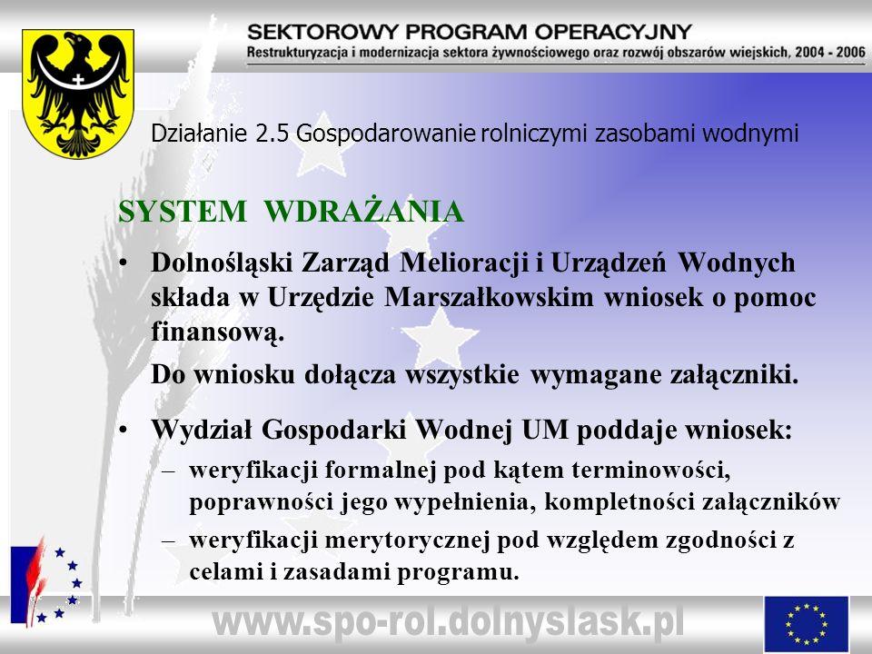 SYSTEM WDRAŻANIA Dolnośląski Zarząd Melioracji i Urządzeń Wodnych składa w Urzędzie Marszałkowskim wniosek o pomoc finansową. Do wniosku dołącza wszys